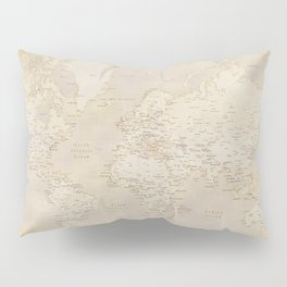 Vintage world map in sepia and gold, Kellen Pillow Sham