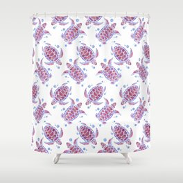 """Watercolor Painting of Picture """"Decorative Turtles"""" Shower Curtain"""
