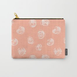 Sweet Life Rosebud Peach Coral Pink Carry-All Pouch