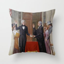 Andrew Jackson Taking Oath Of Office Throw Pillow