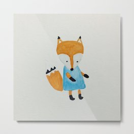 Forest Friends Watercolor Little Fox Metal Print