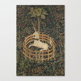 Vintage Fenced in Unicorn Painting (1505) Canvas Print