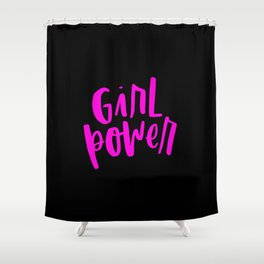 Girl Power 2 Pink and Black Shower Curtain