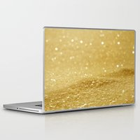 gold glitter Laptop & iPad Skins featuring Glitter Gold by Alice Gosling