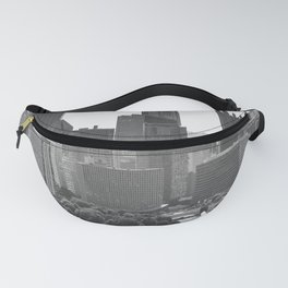 Pittsburgh City Skyline Point State Park Fountain Black White Photography Panoramic Print Fanny Pack