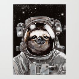 Astronaut Sloth Selfie Poster
