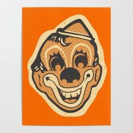Retro Creepy Halloween Clown Face Mask Poster