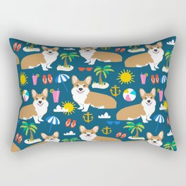 Corgi Beach Day  - summer, corgi, palm tree, cute corgi at the beach Rectangular Pillow