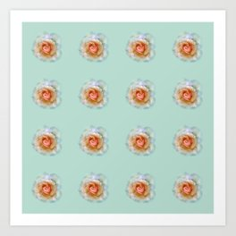 bed of roses: eau de nil wallpaper Art Print