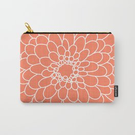 Coral Chrysanth Carry-All Pouch