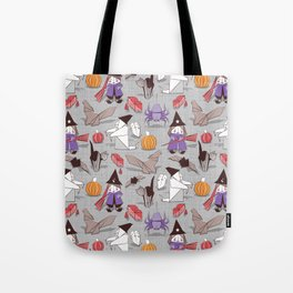 Halloween origami tricks // grey linen texture background Tote Bag