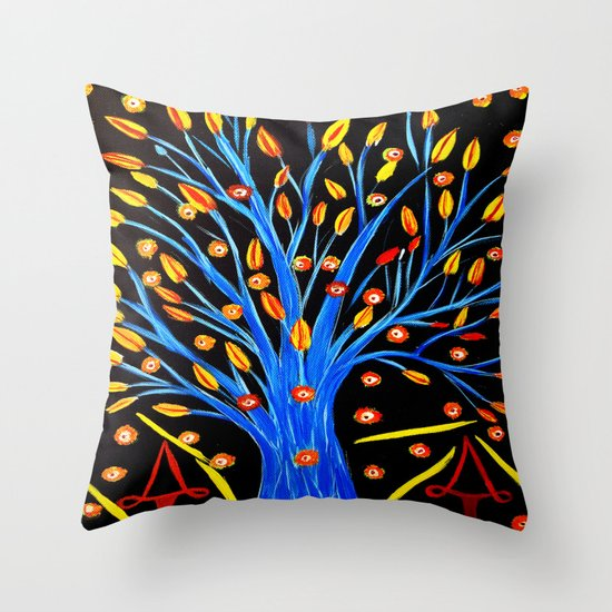 Blue tree/abstract Throw Pillow