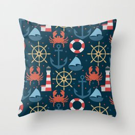Sea blue pattern Throw Pillow