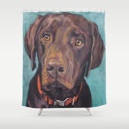 Chocolate lab LABRADOR RETRIEVER dog portrait painting by L.A.Shepard fine art Shower Curtain