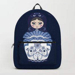 Matryoshka Doll with folk floral ornament of blue color Backpack