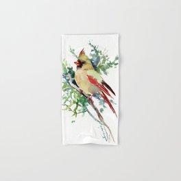 Cardinal Bird Artwork, female cardinal bird Hand & Bath Towel