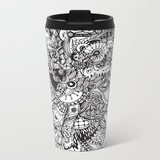 Detailed rectangle, black and white Metal Travel Mug