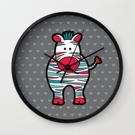 Doodle Zebra on Grey Triangle Background Wall Clock