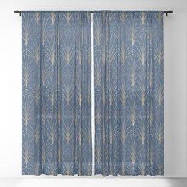 Art Deco Waterfalls // Navy Blue Sheer Curtain
