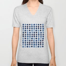 Indigo Circles Watercolor Pattern Unisex V-Neck