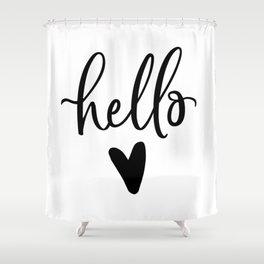 HELLO LOVE by DearLilyMae Shower Curtain