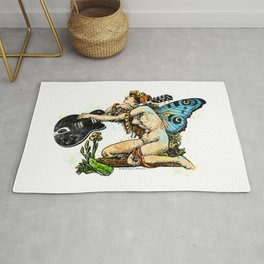 Guitar Girl With Butterfly Wings Rug