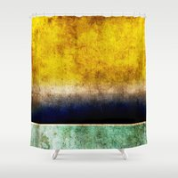 number Shower Curtains featuring Number 5 by Red Coat Studio Design