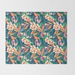 Tropical Bird Of Paradise Flowers Throw Blanket
