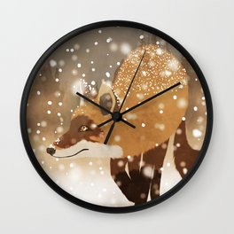 Sneaky smart fox in snowy forest winter snowflakes drawing Wall Clock
