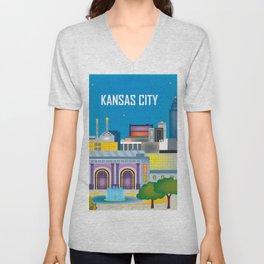 Kansas City, Missouri - Skyline Illustration by Loose Petals Unisex V-Neck
