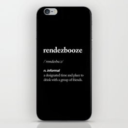 Rendezbooze black and white contemporary minimalism typography design home wall decor black-white iPhone Skin