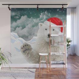 Santa Polar Bear Wall Mural
