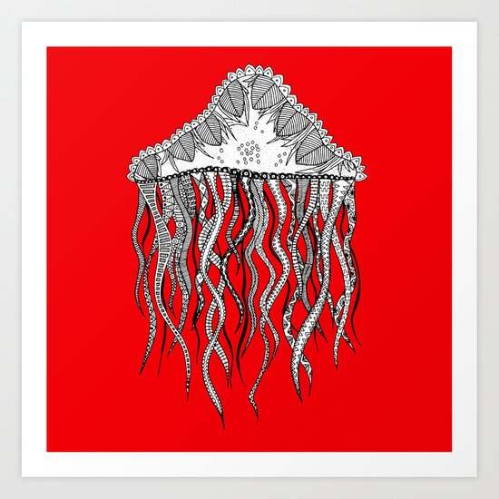 red jelly square Art Print