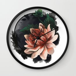 Ink and flowers Wall Clock