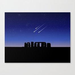Stonehenge and Shooting Stars At Night Canvas Print