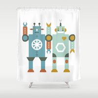 robots Shower Curtains featuring robots by Mr. Morris can Meow!