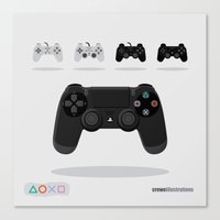 playstation Canvas Prints featuring Console Control: PlayStation by Crewe Illustrations