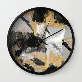 Gold leaf black, geometrical abstract Wall Clock