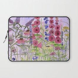 Watercolor Wildflower Garden Flowers Hollyhock Teasel Butterfly Bush Blue Sky Laptop Sleeve