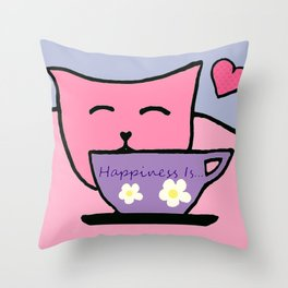 Happiness Is Cats and Tea Throw Pillow