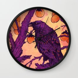 Raven and Persimmons Wall Clock