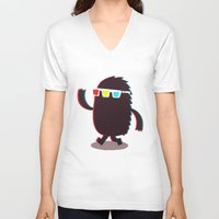 monster V-neck T-shirts featuring MONSTER 3d by Monster Riot