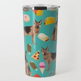 German Shepherd junk food pizza donuts ice cream burrito funny dog art pet portrait Travel Mug