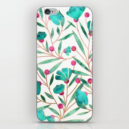 Turquoise Floral iPhone Skin