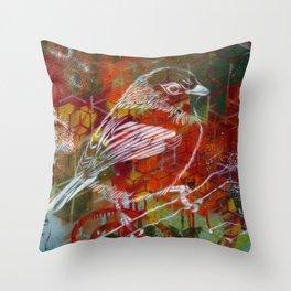 Sparrow Graffiti Throw Pillow