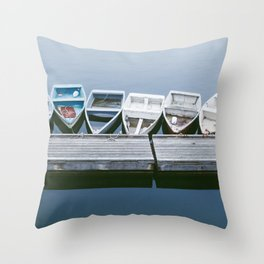 Boats in Maine Throw Pillow