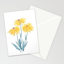 three yellow flowers Stationery Cards
