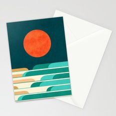 Chasing wave under the red moon Stationery Cards
