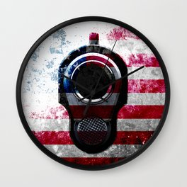 M1911 Colt 45 and American Flag on Distressed Metal Wall Clock