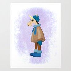 Cozy Coat Unicorn Art Print